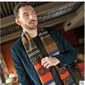 Men Scarf Winter Autumn Men Scarves Wrap Shawl Thick Printed Men's Scarf Warm Cotton Cashmere Wool Blended Knit Brushed Scarf