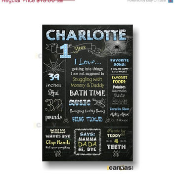 CIJ SALE Charlotte's Web First Birthday Stats, 1st Birthday, Baby's 1st Year Milestones Sign - Printable Birthday Chalkboard Poster - Blue 3