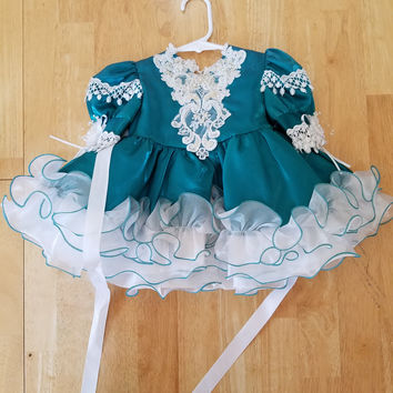 Tip Top Pageant Gown Blue Turquoise Cupcake Size 6m Glitz Little Girls
