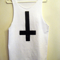 inverted cross White tank racerback shirt S M L