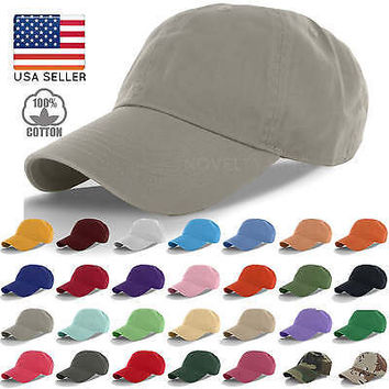 Cotton Cap Baseball Caps Hat Adjustable Polo Style Washed Plain Solid Visor