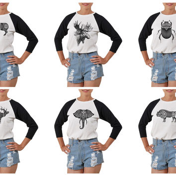 Women's Animal Hand draw-3 Printed Elbow Sleeves T- Shirt WTS_03