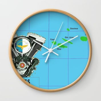 Azores Motorcycle Islanders. Wall Clock by Tony Silveira