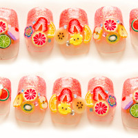Fruit nails, summer nail art, cute nails, pretty nail, 3D nails, polymer clay fruit, food nail art, nails