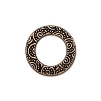 "94-3138-26 - TierraCast Pewter Link, 5/8"" Spiral Ring, Antique Gold 