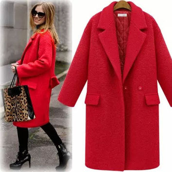 Women Wool Coat With Quilting Long Winter Woolen coats Red Black Fashion Casual Wool Peacoats Plus size