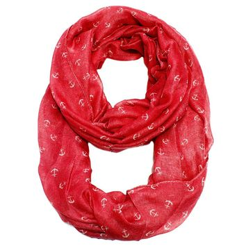 Tiny Anchor Infinity Scarf  Red
