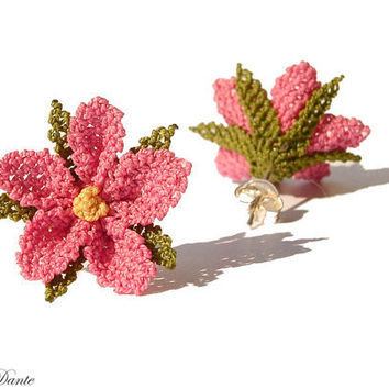 Sugar pink earring crocheted lace coral pink flower by LandofDante