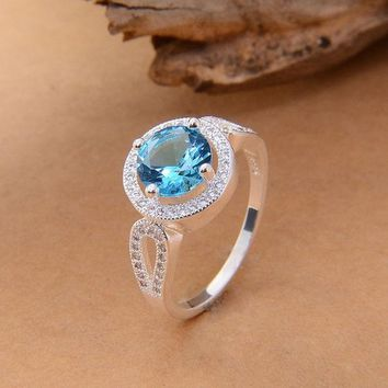 DCCKIX3 PRETTY 925 Silver Round CUT Blue Jewelry Rhinestone Aquamarine & topaz Wedding Ring sz 6/7/8/9 = 1932551876