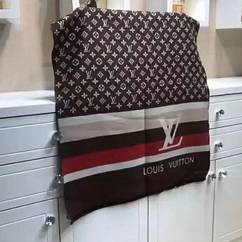 LV '' Louis Vuitton '' Woman Accessories Cape Scarf Scarves Coffee I-LLBPFSH