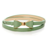 Good to Bow Sage Green Bow Skinny Belt