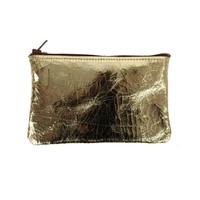 Catbird :: shop by category :: HOME & GIFTS :: Leather Pouch, Gold Crackle - small