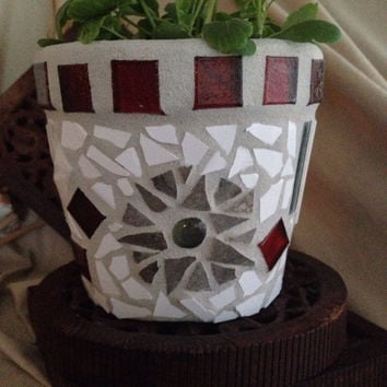 Mosaic flower pot, indoor planter, kitchen planter, herb pot, outdoor patio pot, abstract mosaic pot, garden container, small flower pot