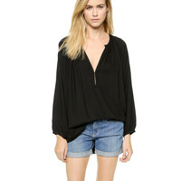 V-neck Long Sleeve Pleated Blouse
