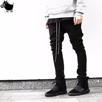 Man Si Tun  chinos joggers korean mens european urban clothing black kanye west justin bieber harem dress zipper track pants FOG