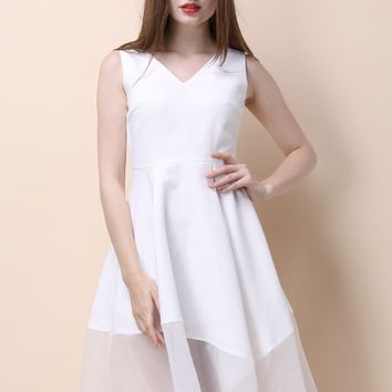 Dulcet Melody Flare Dress in White
