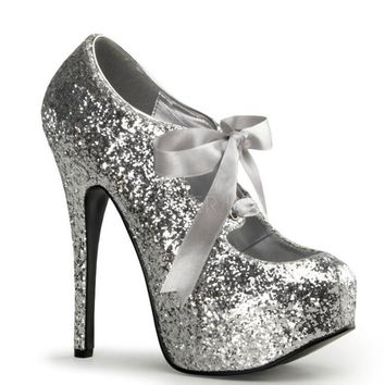 Bordello Silver Glitter Sparkle Bow Tie Slip On Platform Pumps