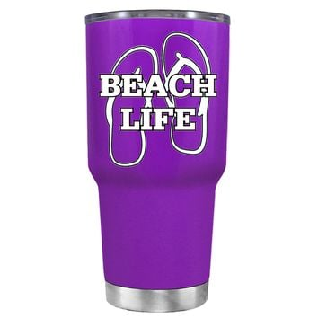 The Beach Life Sandals on Purple 30 oz Tumbler Cup