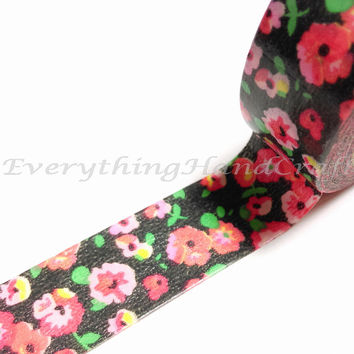 Flower Garden Black Washi Tape / Masking Tape / Adhesive Tape / Decorative Gift Wrapping Party Wedding Scrapbooking Planner Sticker 10m c16