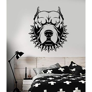 Vinyl Wall Decal American Staffordshire Terrier Angry Dog Stickers (2319ig)