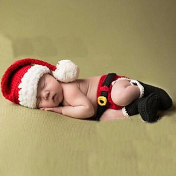 3pcs Baby Photo Props Infants Crochet Knitted Xmas Costume Newborn Handmade Photography Clothes