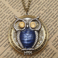 Steampunk Blue Owl Locket Necklace Vintage Style by sallydesign