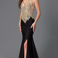 Floor Length Sleeveless Dress with Bead Embellished Bodice