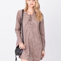 Tied Up Suede Dress