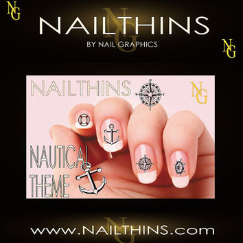 NAUTICAL THEME Anchor Life Preserver Compass Ship Wheel Nail Decal  Nail Art  Nail Design