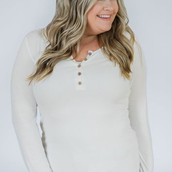 Need You Now 5-Button Henley Top- White
