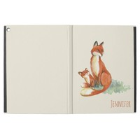 """Momma Fox and Baby Watercolor Illustration iPad Pro 12.9"""" Case"""
