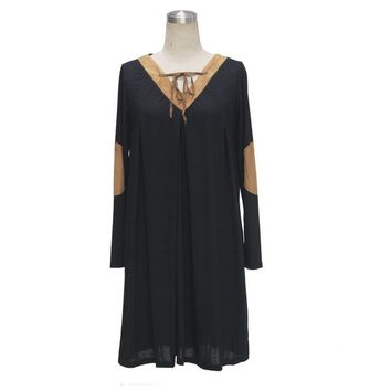 Front Tie Up Ankle Patch Shift Dress Loose Boho Women Black Dress Bohemian Style Girl Autumn Casual Dress 2016 High Quality