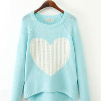 Heart Pattern Long Sleeve Knitted Sweater
