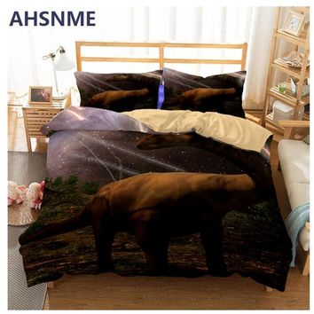 AHSNME Meteorites Falling Night Sky Dinosaurs Extinction Bedding Set High-definition Print Quilt Cover for AU and EU and RU Size