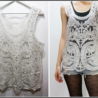 Sandysshop — Crochet Embroidered Lace Sheer Top