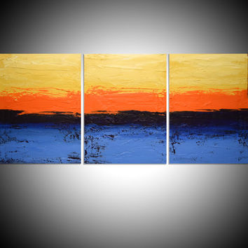 triptych 3 panel abstract acrylic art in blue gift multi panel canvas painting for home interiors 48 x 20 ""