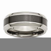 Men's Titanium Base with Polished Black Ceramic Center Beveled Wedding Band Ring: RingSize: 10.5