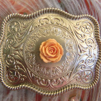 Floral Silver Belt Buckle, Western Womens Southwestern Country Engraved Buckle, Flower Belt, Girls Belt Buckle