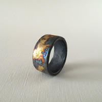 FOR MEN- Texture Gold and Silver Ring Size 12-12.5