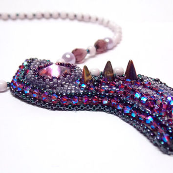 Bead Embroidery Necklace Bead embroidered pendant Party necklace Seed bead necklace Lilac Fuchsia Swarovski