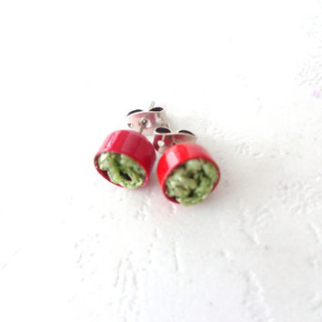 Red green Round Stud Earrings