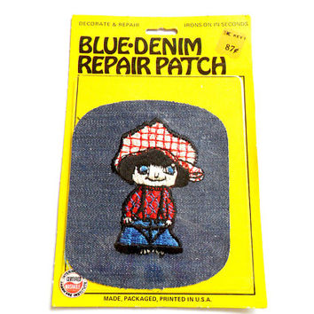 Vintage Iron On Bell Bottom Kid - Blue Denim Repair Patch - New In Package - 1970s Style -  Embroidered Design - Hippie Child - Boy Girl