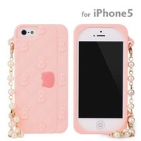 Strapya World : Sanrio Clutch Bag Style Silicone iPhone 5 Case (Hello Kitty/Pearl Chain)【CS】