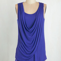 Long Sleeveless Draped in Delight Top in Royal Blue by ModCloth