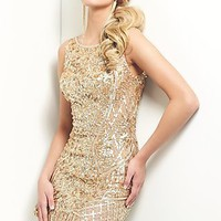 Short Open Back Gold Sequin Dress by Mon Cheri Shorts