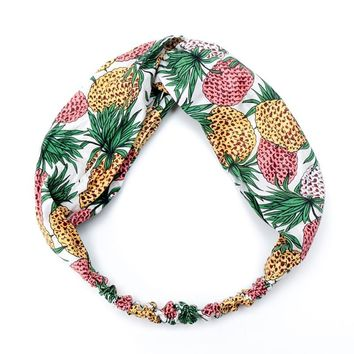 NEW Lady Fruit Pineapple Cross Hairbands Top Knot Turban Female Bow Knotted Elastic Headbands Hair Accessories for Women Bandana