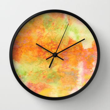 PASTEL IMAGININGS 3 Colorful Pretty Spring Summer Orange Yellow Peach Abstract Watercolor Painting Wall Clock by EbiEmporium