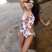 Donuts low cut ruffle monokini