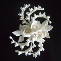 White Rose Hair Clip Wedding Hair Piece Bridal Hair fascinator Wedding Hair Flower Clay Flowers Bridal Hair Accessories