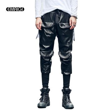 Men Fashion Casual Leather Pant Multi-pocket Design Leisure Leather Locomotive Pants Male High Quality Slim Fit Trousers